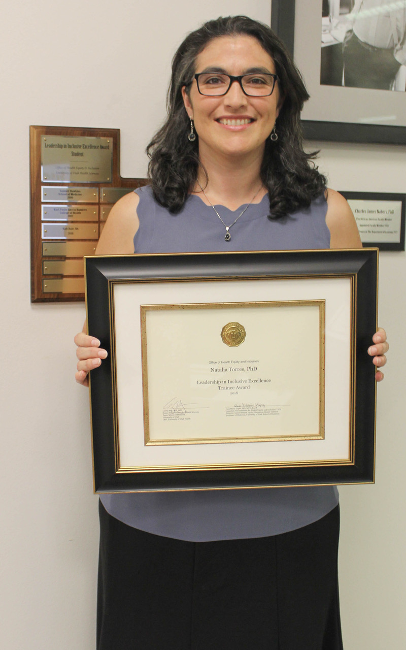 Natalia Torres is this year recipient of the Leadership in Inclusive Excellence Award, category trainee